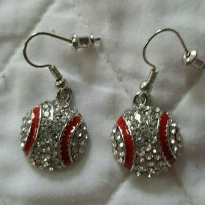 Rhinestone Sparkly Baseball Fashion Earrings NEW